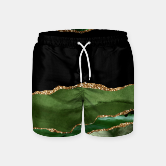 Faux Emerald Green Marbled Agate Contemporary Stone Swim Shorts thumbnail image