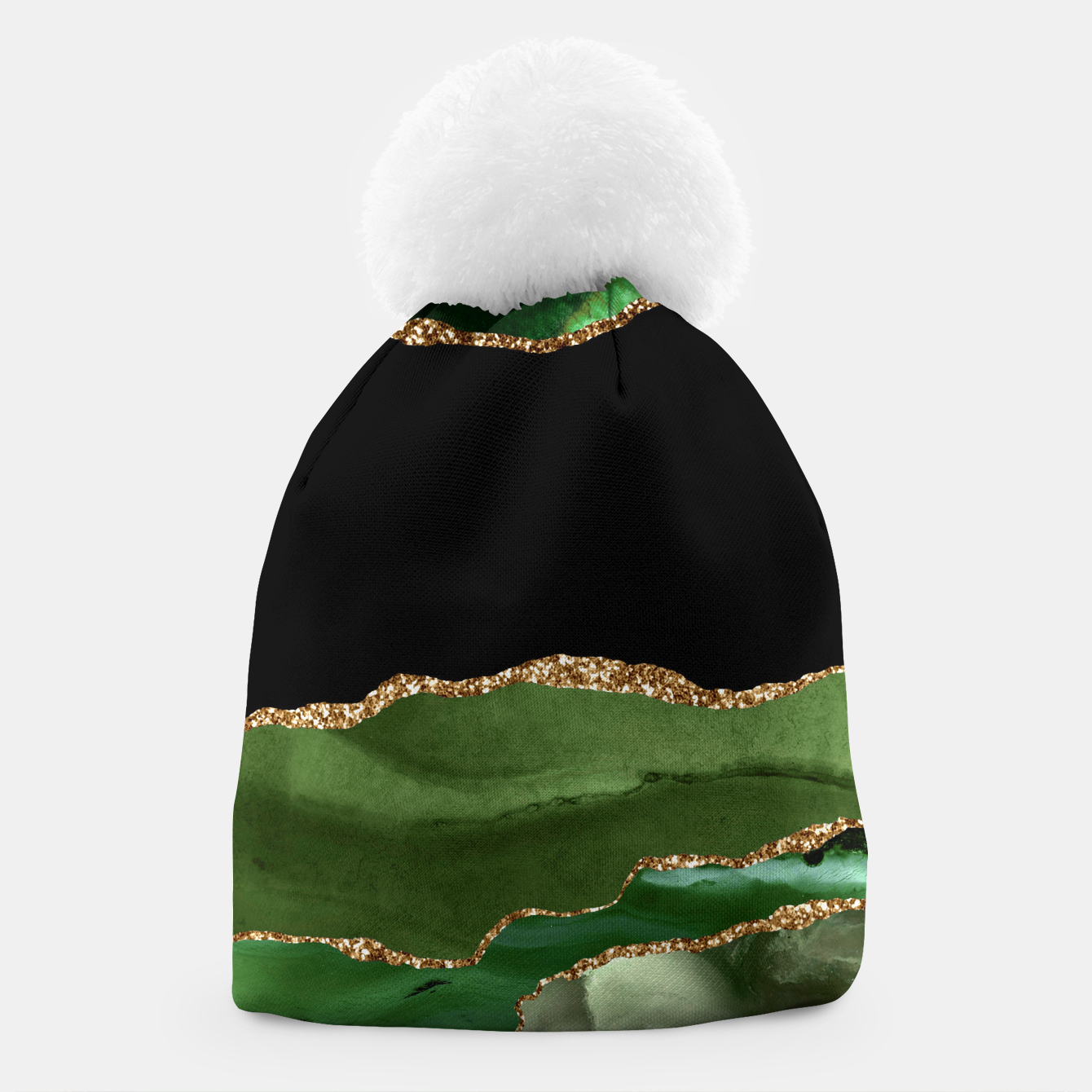 Image of Faux Emerald Green Marbled Agate Contemporary Stone Beanie - Live Heroes