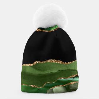 Faux Emerald Green Marbled Agate Contemporary Stone Beanie thumbnail image