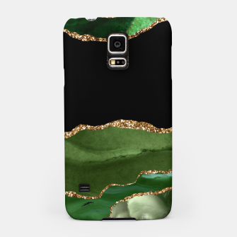 Faux Emerald Green Marbled Agate Contemporary Stone Samsung Case thumbnail image