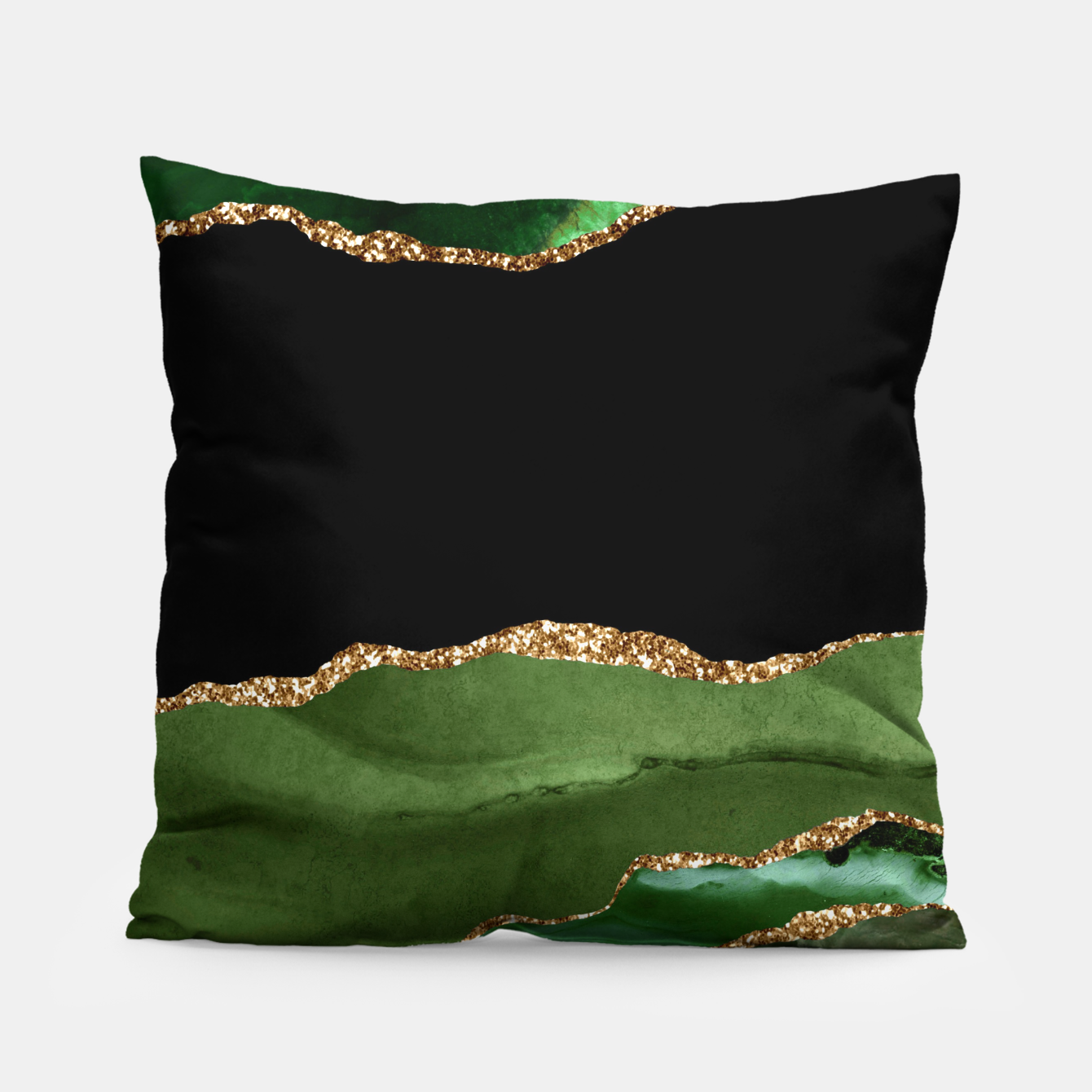 Image of Faux Emerald Green Marbled Agate Contemporary Stone Pillow - Live Heroes