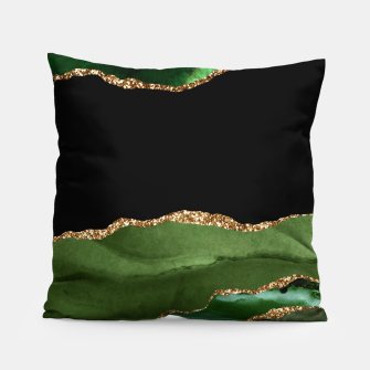 Faux Emerald Green Marbled Agate Contemporary Stone Pillow thumbnail image