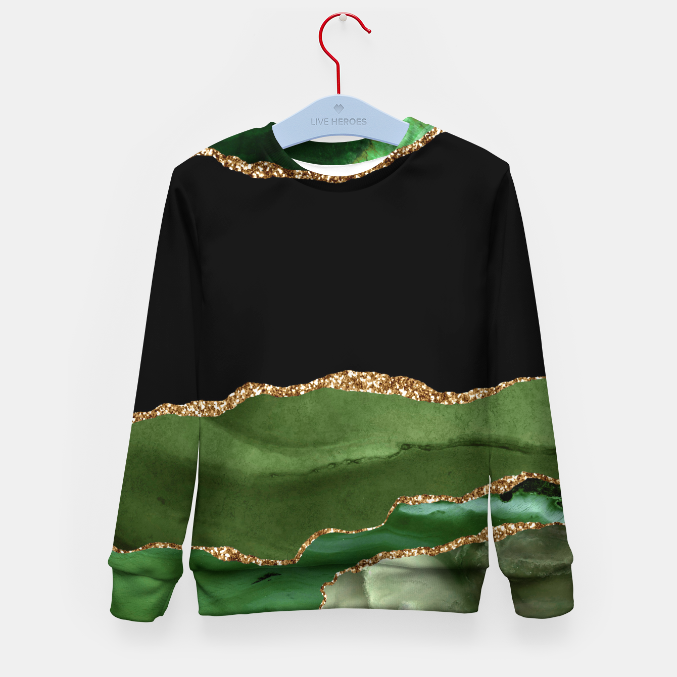 Image of Faux Emerald Green Marbled Agate Contemporary Stone Kid's sweater - Live Heroes