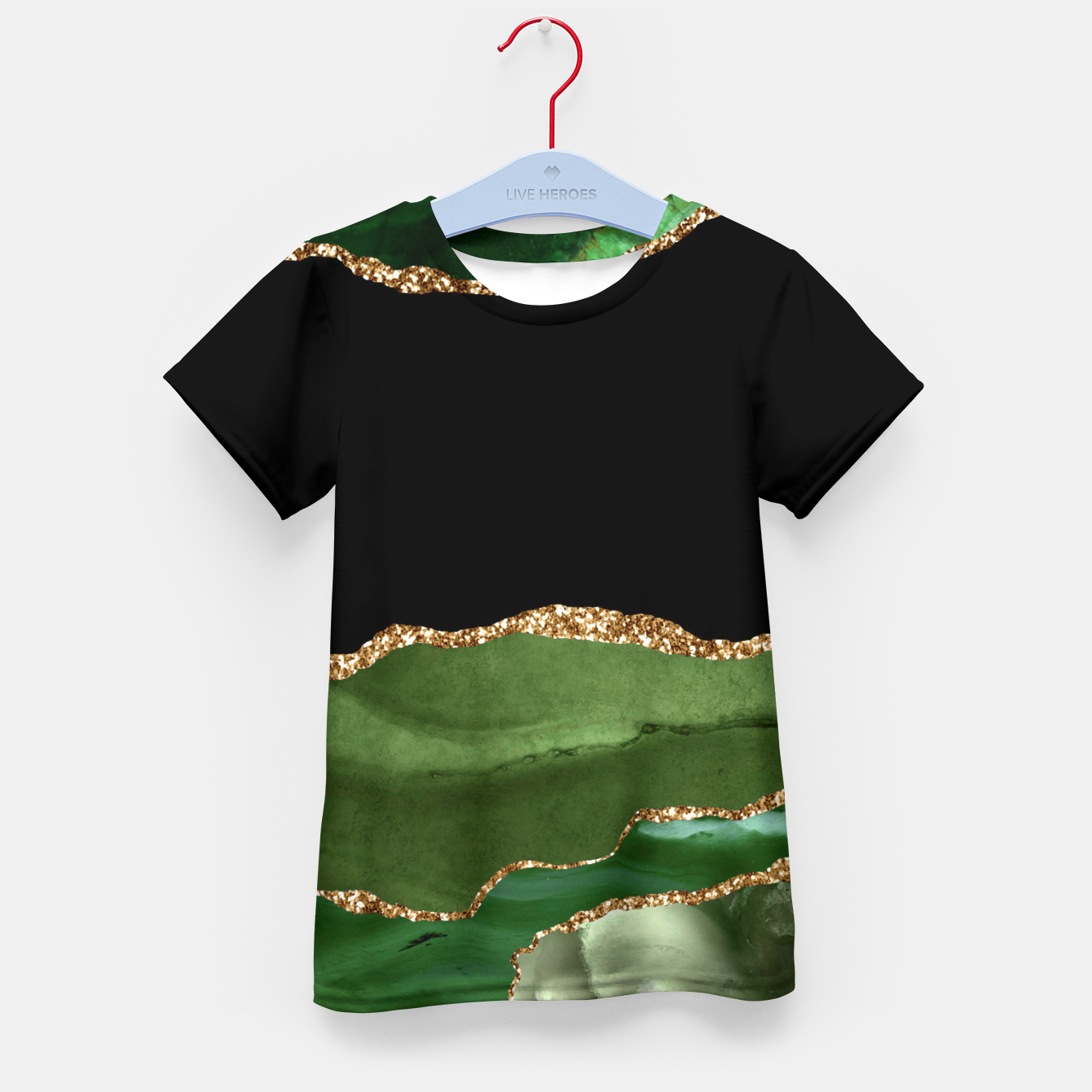 Image of Faux Emerald Green Marbled Agate Contemporary Stone Kid's t-shirt - Live Heroes