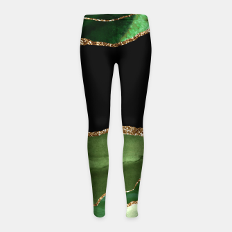 Faux Emerald Green Marbled Agate Contemporary Stone Girl's leggings thumbnail image
