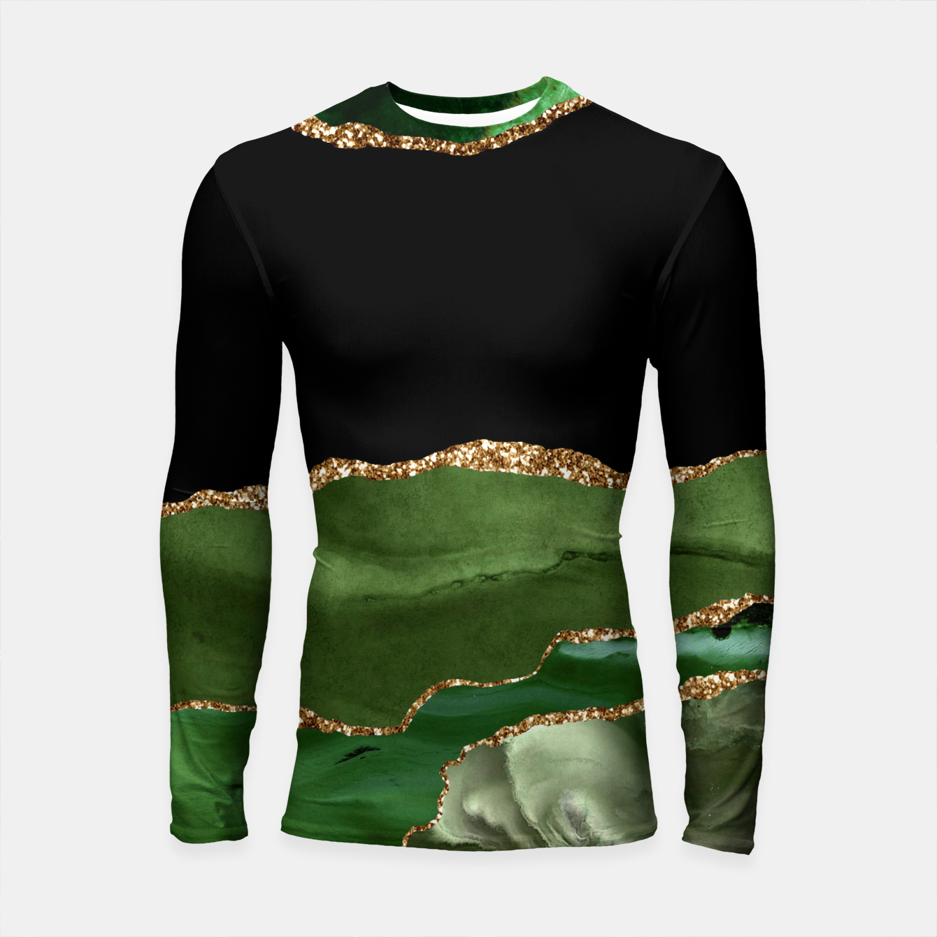 Image of Faux Emerald Green Marbled Agate Contemporary Stone Longsleeve rashguard  - Live Heroes