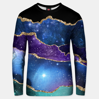 Miniatur Faux Marbled Agate Stone Galaxy Sparkly Shining Stars Unisex sweater, Live Heroes