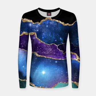 Miniatur Faux Marbled Agate Stone Galaxy Sparkly Shining Stars Women sweater, Live Heroes