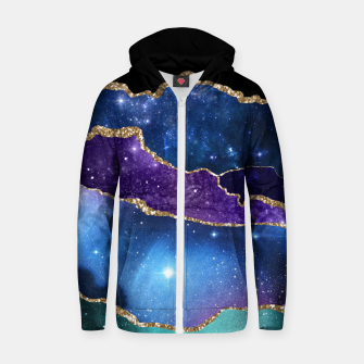 Miniatur Faux Marbled Agate Stone Galaxy Sparkly Shining Stars Zip up hoodie, Live Heroes