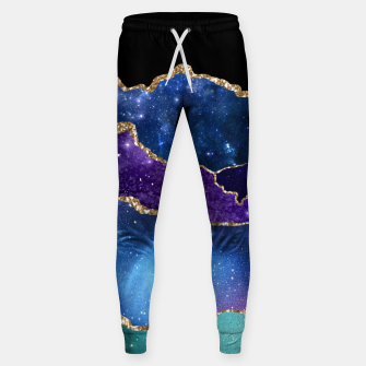 Miniatur Faux Marbled Agate Stone Galaxy Sparkly Shining Stars Sweatpants, Live Heroes