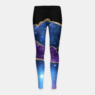 Miniatur Faux Marbled Agate Stone Galaxy Sparkly Shining Stars Girl's leggings, Live Heroes