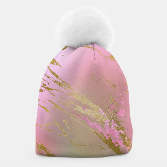 Miniaturka Marble Purple Pink Pastel Color Golden Glitter Girly Luxury Beanie, Live Heroes