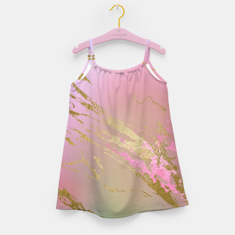 Miniaturka Marble Purple Pink Pastel Color Golden Glitter Girly Luxury Girl's dress, Live Heroes