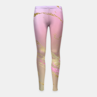 Miniaturka Marble Purple Pink Pastel Color Golden Glitter Girly Luxury Girl's leggings, Live Heroes