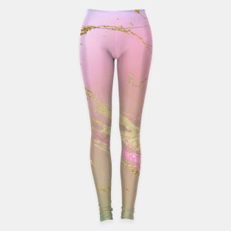 Miniaturka Marble Purple Pink Pastel Color Golden Glitter Girly Luxury Leggings, Live Heroes