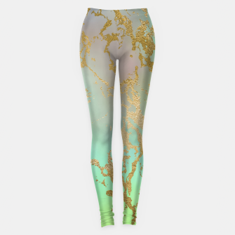 Miniaturka Marble Pastel Green Purple Golden Glitter Trendy Glam Leggings, Live Heroes