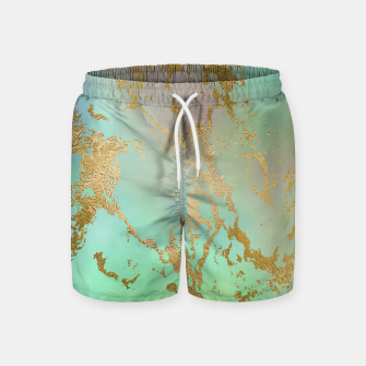 Miniaturka Marble Pastel Green Purple Golden Glitter Trendy Glam Swim Shorts, Live Heroes
