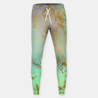 Miniaturka Marble Pastel Green Purple Golden Glitter Trendy Glam Sweatpants, Live Heroes