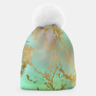 Thumbnail image of Marble Pastel Green Purple Golden Glitter Trendy Glam Beanie, Live Heroes
