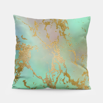 Miniaturka Marble Pastel Green Purple Golden Glitter Trendy Glam Pillow, Live Heroes