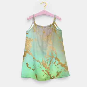 Miniaturka Marble Pastel Green Purple Golden Glitter Trendy Glam Girl's dress, Live Heroes