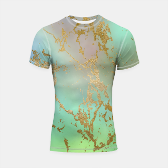 Thumbnail image of Marble Pastel Green Purple Golden Glitter Trendy Glam Shortsleeve rashguard, Live Heroes