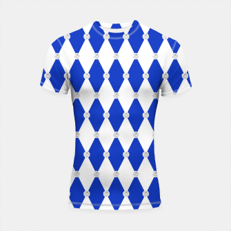 Thumbnail image of Harlequin Blue Diamond Shape Geometric Forms Rhombus Shortsleeve rashguard, Live Heroes