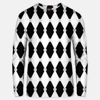 Thumbnail image of Harlequin Black White Rhombus Diamond Shape Geometric Forms Unisex sweater, Live Heroes
