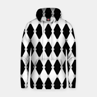 Thumbnail image of Harlequin Black White Rhombus Diamond Shape Geometric Forms Hoodie, Live Heroes