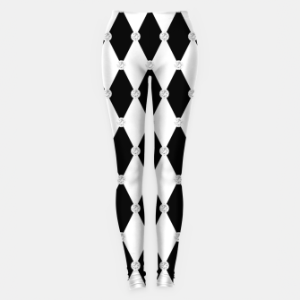 Thumbnail image of Harlequin Black White Rhombus Diamond Shape Geometric Forms Leggings, Live Heroes
