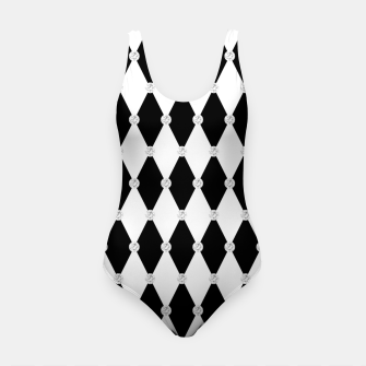 Thumbnail image of Harlequin Black White Rhombus Diamond Shape Geometric Forms Swimsuit, Live Heroes