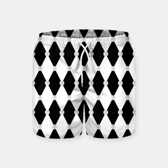 Thumbnail image of Harlequin Black White Rhombus Diamond Shape Geometric Forms Swim Shorts, Live Heroes