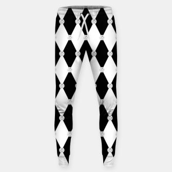 Thumbnail image of Harlequin Black White Rhombus Diamond Shape Geometric Forms Sweatpants, Live Heroes