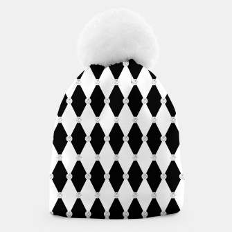 Thumbnail image of Harlequin Black White Rhombus Diamond Shape Geometric Forms Beanie, Live Heroes