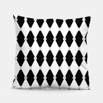 Thumbnail image of Harlequin Black White Rhombus Diamond Shape Geometric Forms Pillow, Live Heroes