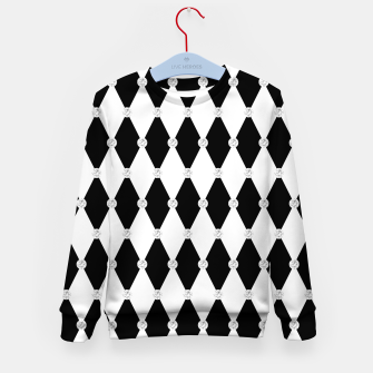 Thumbnail image of Harlequin Black White Rhombus Diamond Shape Geometric Forms Kid's sweater, Live Heroes