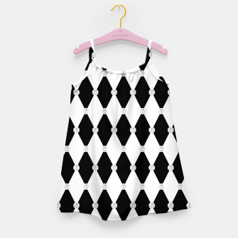 Thumbnail image of Harlequin Black White Rhombus Diamond Shape Geometric Forms Girl's dress, Live Heroes