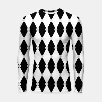 Thumbnail image of Harlequin Black White Rhombus Diamond Shape Geometric Forms Longsleeve rashguard , Live Heroes