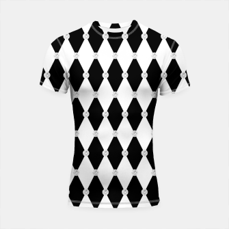 Thumbnail image of Harlequin Black White Rhombus Diamond Shape Geometric Forms Shortsleeve rashguard, Live Heroes