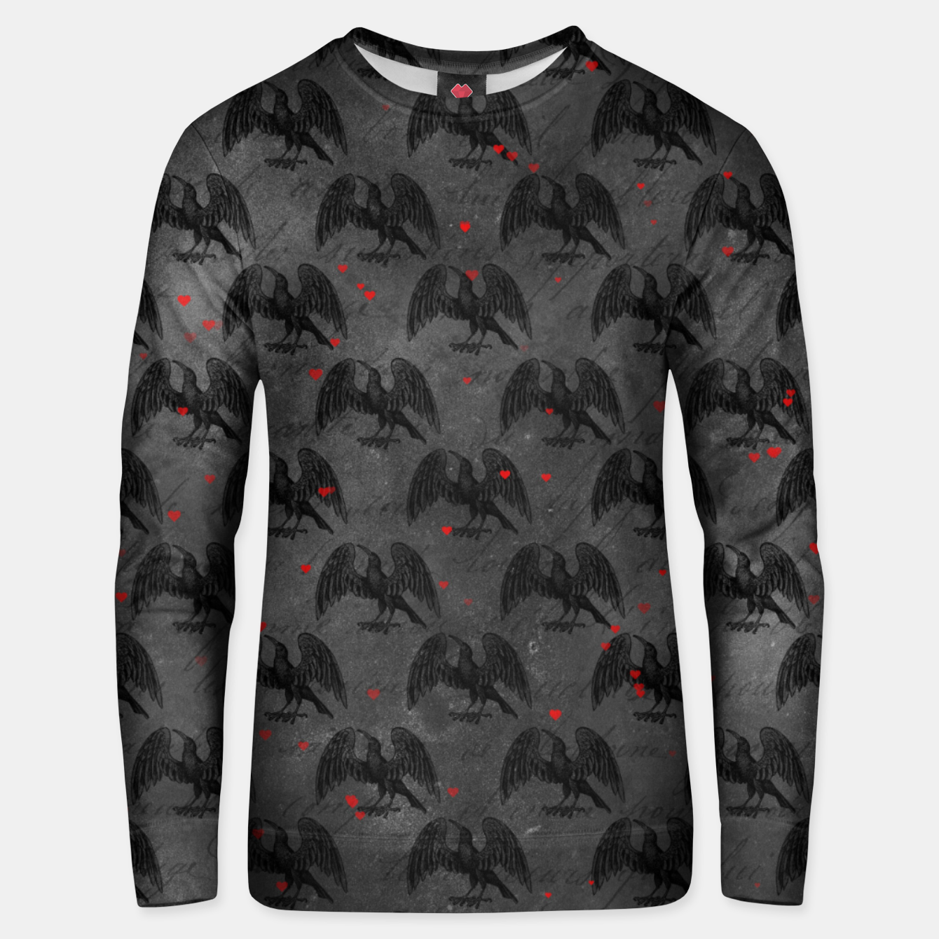 Foto Black Bird Red Hearts Vintage Romantic Hand Lettering Unisex sweater - Live Heroes