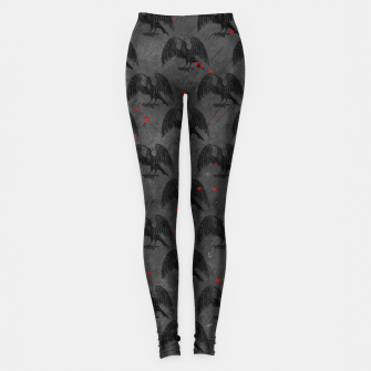 Black Bird Red Hearts Vintage Romantic Hand Lettering Leggings Bild der Miniatur