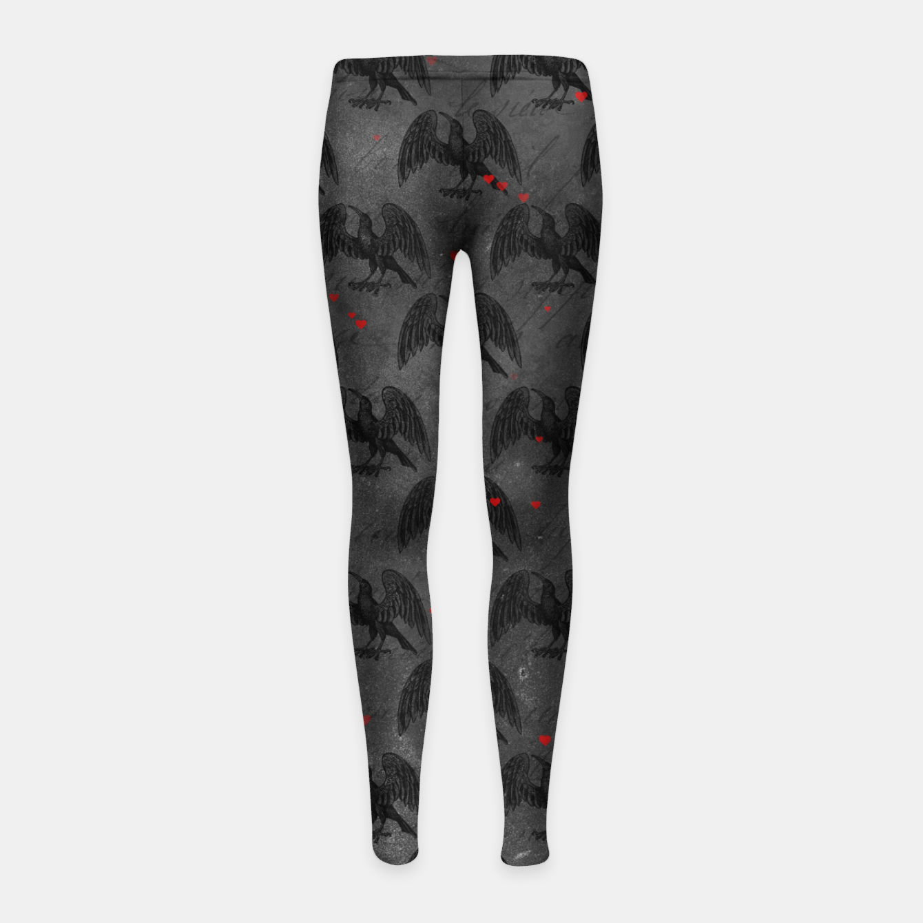 Foto Black Bird Red Hearts Vintage Romantic Hand Lettering Girl's leggings - Live Heroes
