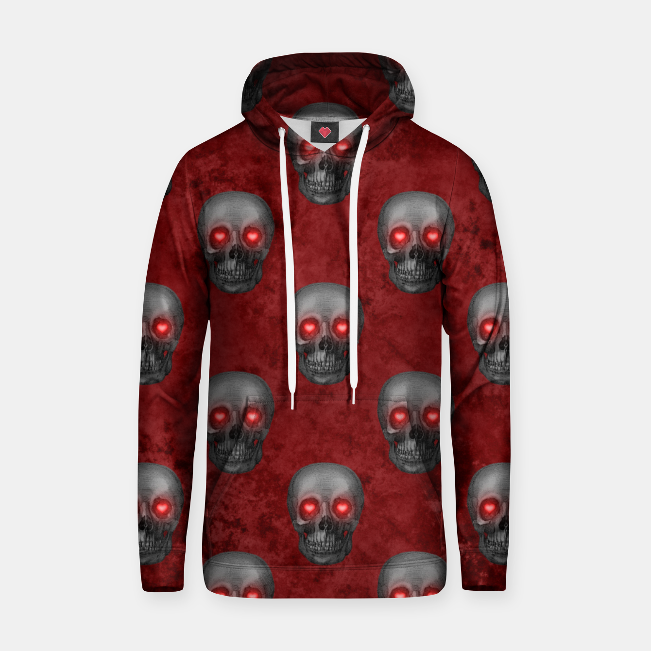 Foto Dark Gray Skull Heart Eyes Red Watercolor Goth Romantic Hoodie - Live Heroes