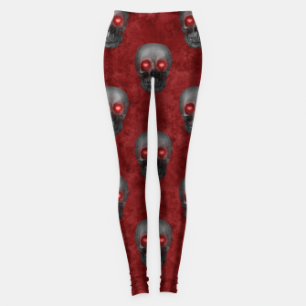 Dark Gray Skull Heart Eyes Red Watercolor Goth Romantic Leggings Bild der Miniatur