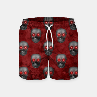Dark Gray Skull Heart Eyes Red Watercolor Goth Romantic Swim Shorts Bild der Miniatur
