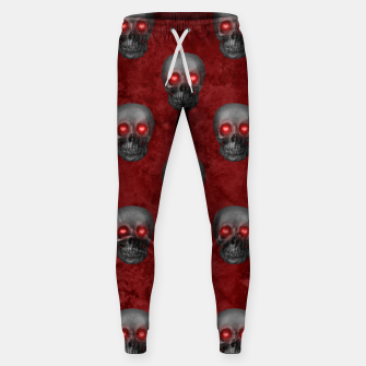 Dark Gray Skull Heart Eyes Red Watercolor Goth Romantic Sweatpants Bild der Miniatur