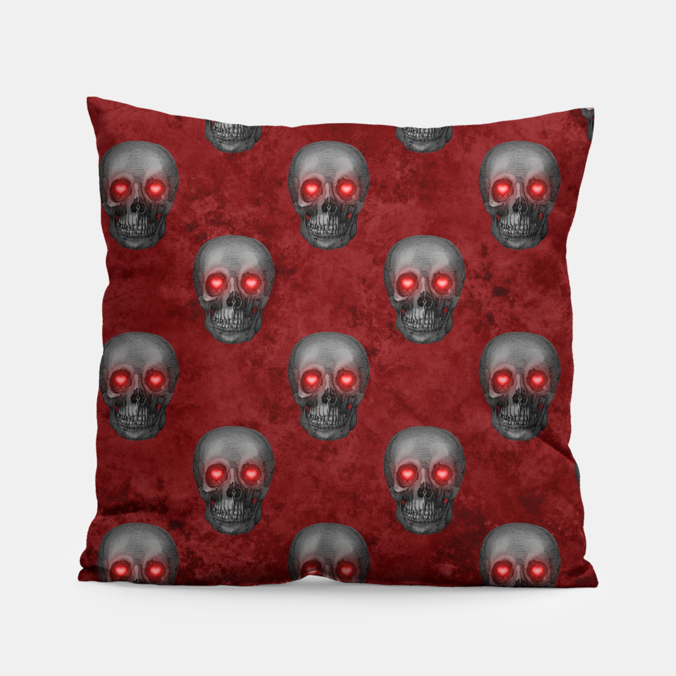 Foto Dark Gray Skull Heart Eyes Red Watercolor Goth Romantic Pillow - Live Heroes