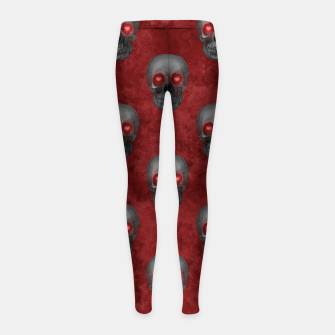 Dark Gray Skull Heart Eyes Red Watercolor Goth Romantic Girl's leggings Bild der Miniatur