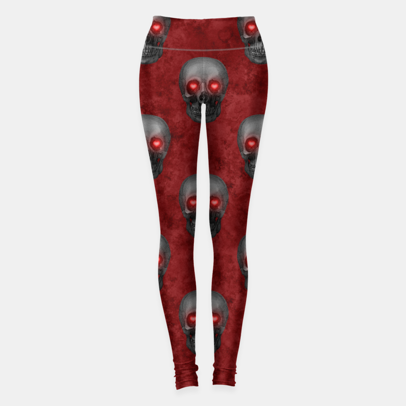 Foto Dark Gray Skull Heart Eyes Red Watercolor Goth Romantic Leggings - Live Heroes