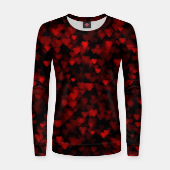 Red Hearts Blurry Vision Dark Black Romantic Love Women sweater Bild der Miniatur